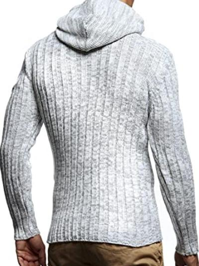 Men's Fashion Slim Horn Button Hooded Sweater