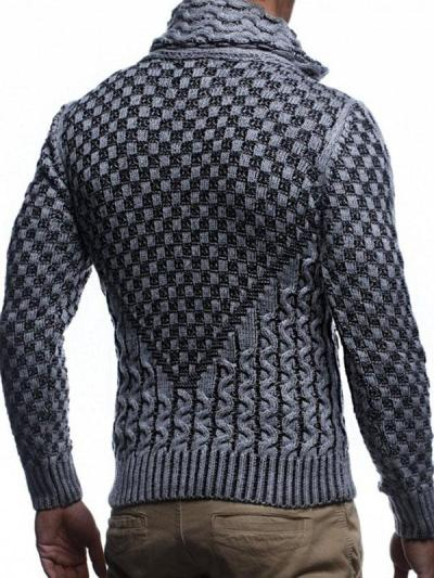 Men's Stand Collar Horn Button Knitted Sweater