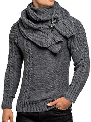 Men's Fashion Long-Sleeved Slim Detachable Scarf Sweater