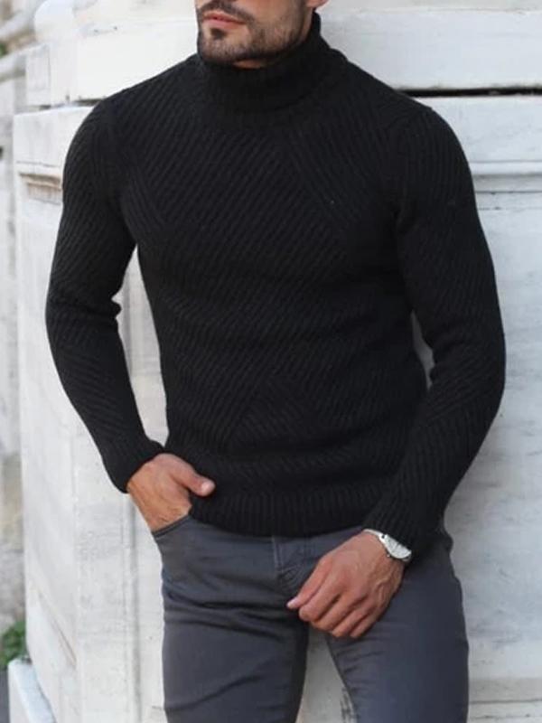 Black Turtleneck Imitates Wool Sweater