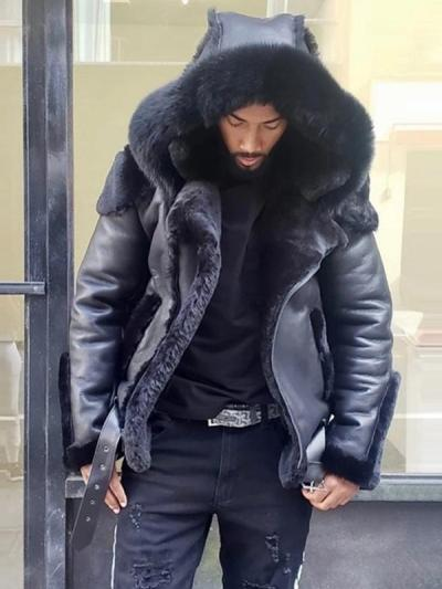 Men's Fashion Faux Fur Hooded Biker Jacket Coat