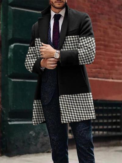 Mens Fashion Casual Mid-Length Plaid Stitching Jacket