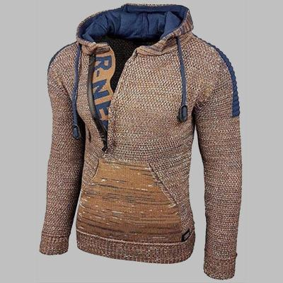 Melange Hooded Pullover Knit Sweater