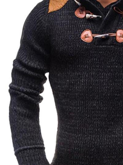 Men's Patchwork Stand Collar Horn Button Knitted Sweater