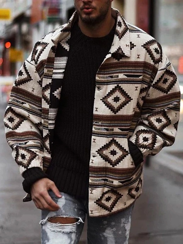 Men's Fashion Casual Printed Lapel Jacket