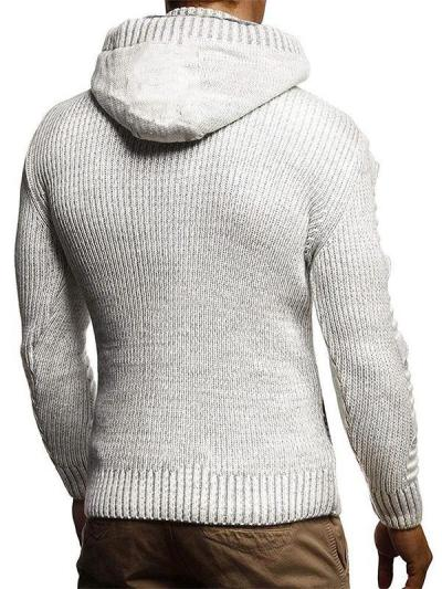 Men's Fashion Chic Plain Hooded Knit Jacket
