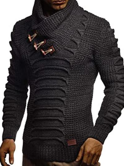 Mens Fashion Casual Stand Collar Button Sweater