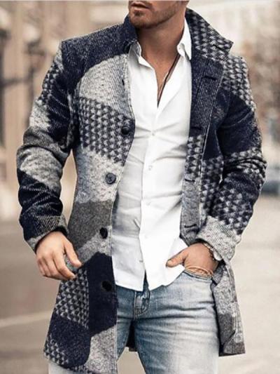 Men's Fashion Color Block Mid-Length Coat