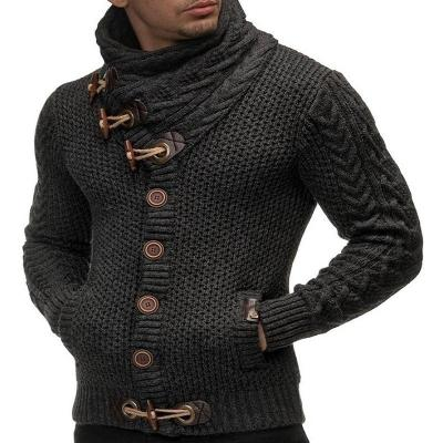 Men Casual Horn Button Warm Sweater