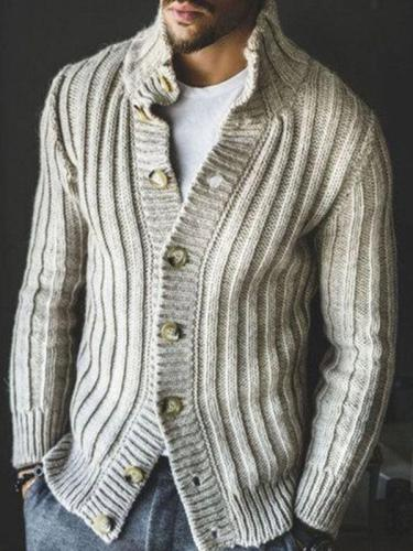Men's Casual Button Knit Cardigan Sweater Jacket