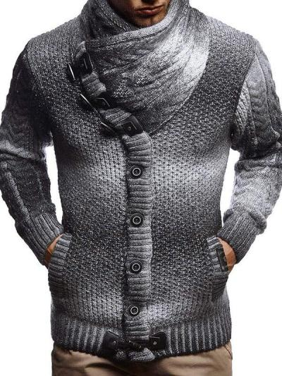 Men's Tie dye Stand Collar Horn Button Knitted Sweater
