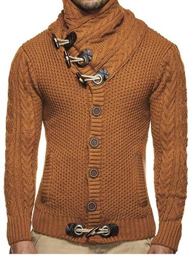 Men's Fashion Plain Single-Breasted Sweater Jacket
