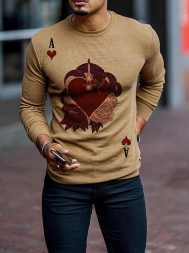 Men's Fashion Printed Round Neck Slim Long Sleeve Sweater