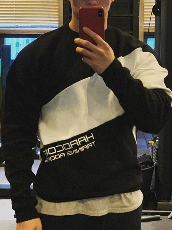 Men's printed long sleeve crew neck sweatshirt