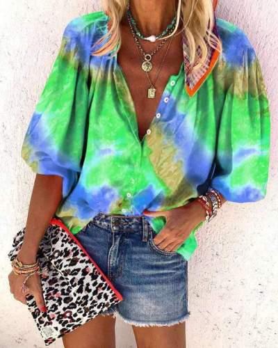 Women Casual Plangi Long sleeve Blouses