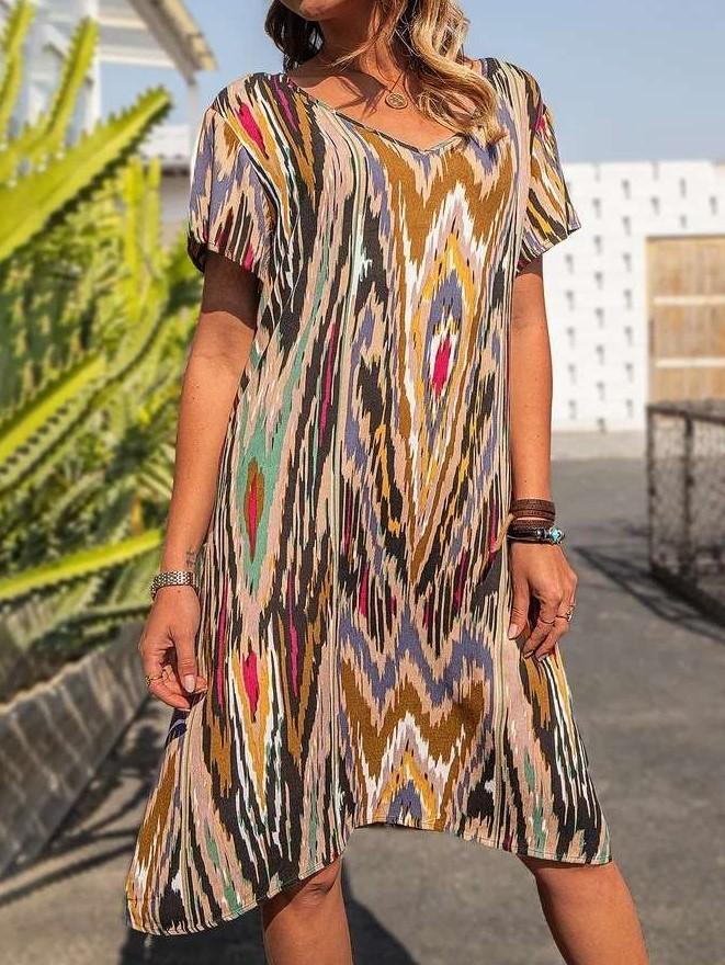 Casual Loose Stripe V neck Short sleeve Shift Dresses