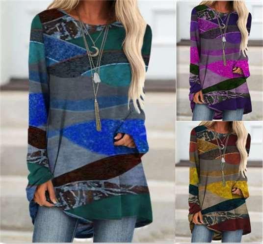 Women Casual Retro print Round neck Long sleeve Plus T-Shirts