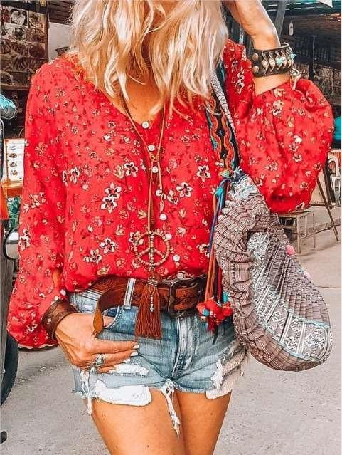 Casual Floral print V neck Puff sleeve Blouses