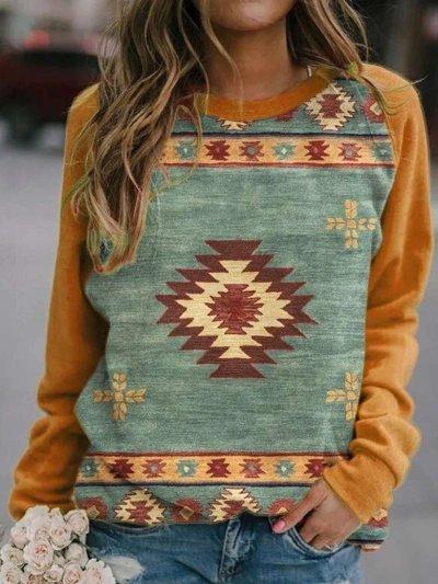 Stylish Casual Gored Round neck Long sleeve Geometry print T-Shirts