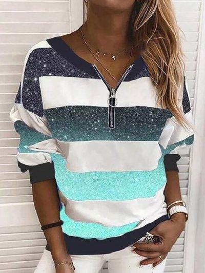 Women Printed Zipper Casual Sweatshirts