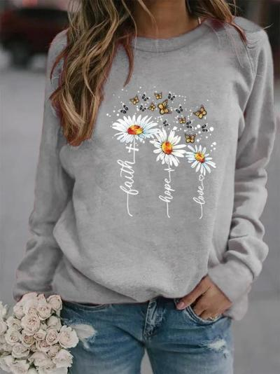 Round Neck Sunflower Print Long Sleeve Sweatshirts