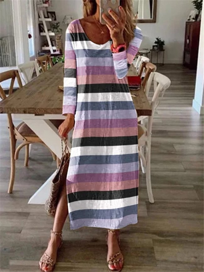 Casual loose color striped long sleeve long maxi dresses