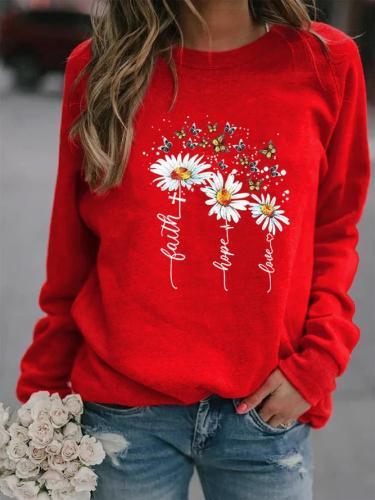 Round Neck Sunflower Print Long Sleeve Sweatshirts