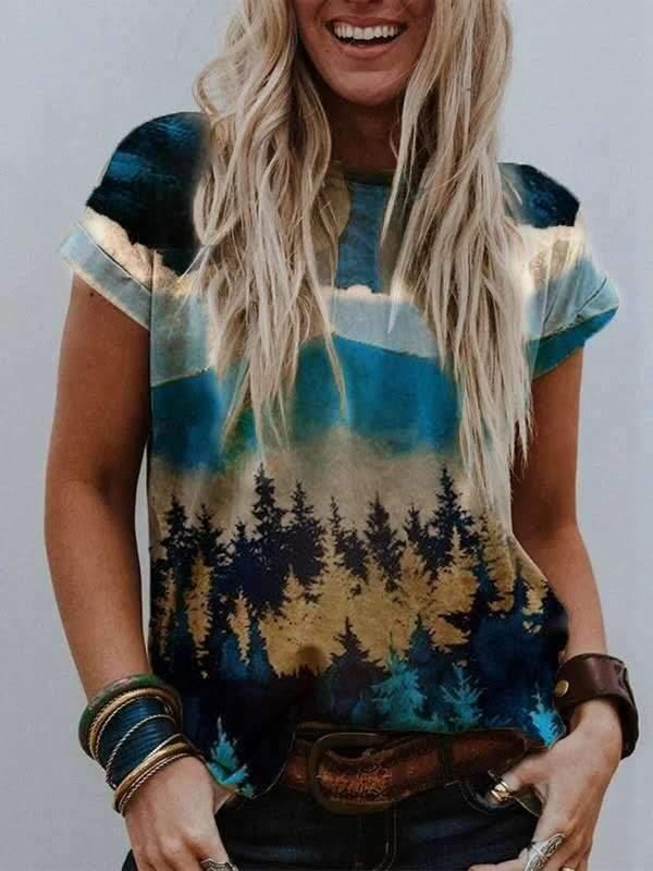 Casual Landscape print Round neck Short sleeve T-Shirts