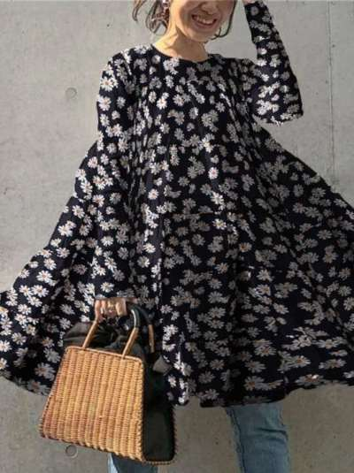 Casual Loose Daisy print Round neck Long sleeve Shift Dresses