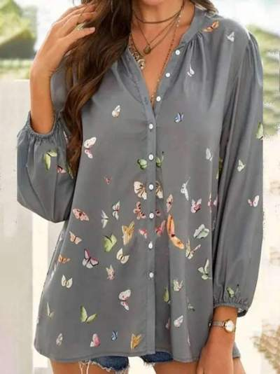 Casual Loose Butterfly print V neck Long sleeve Blouses