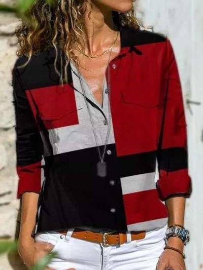 Stylish Gored Retro print Lapel Long sleeve Blouses