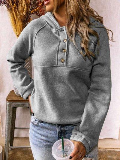 Casual Pure Gored Long sleeve Fastener Hoodies Sweatshirts
