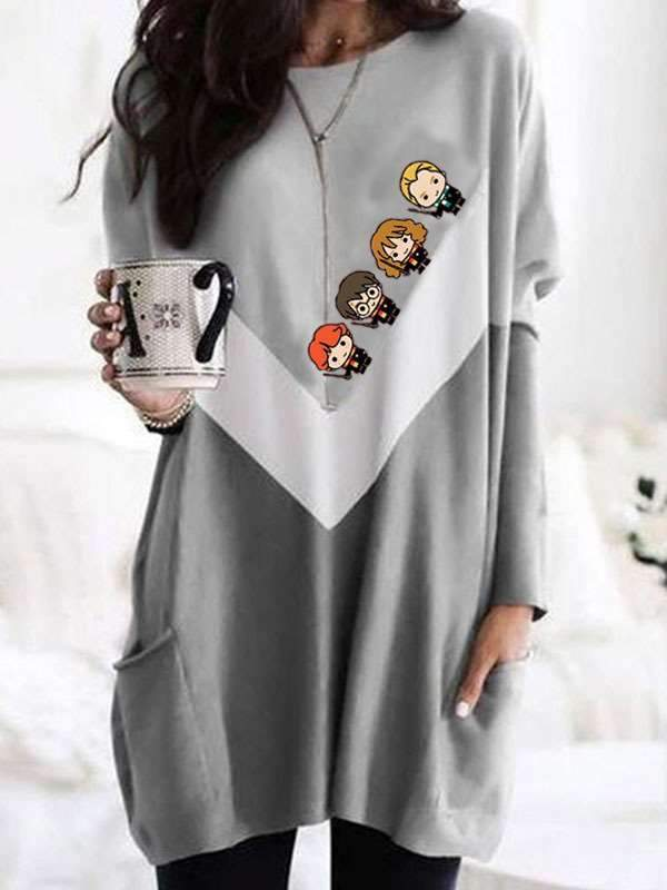 Casual Loose Gored Print Round neck Long sleeve Shift Dresses