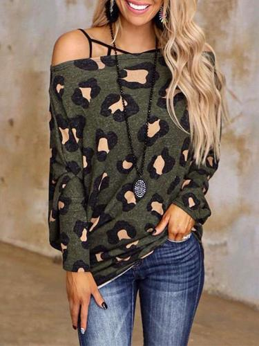 Stylish Retro print One shoulder Long sleeve T-Shirts