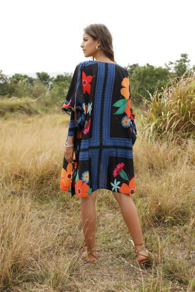 Casual Loose Floral print Round neck Long sleeve Shift Dresses