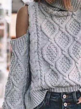 Fashion Pure Off shoulder High collar Long sleeve Crochet Knit Sweaters
