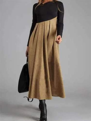 Fashion Elegant Gored V neck Long sleeve Maxi Dresses