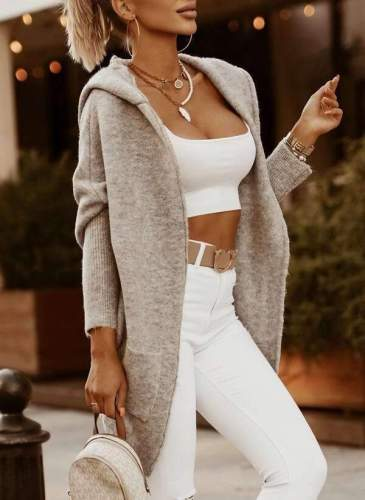 Fashion Casual Pure Hoodie Long sleeve Knit Cardigan