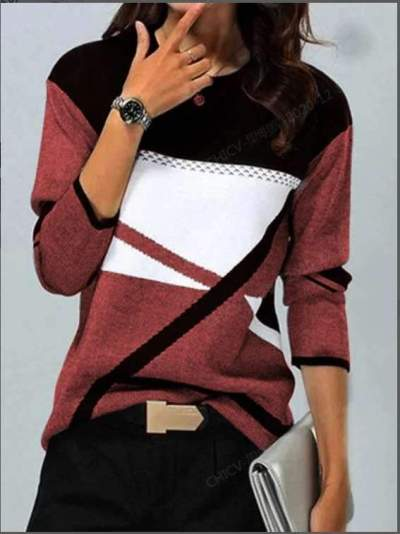 Stylish Gored Round neck Long sleeve Sweaters