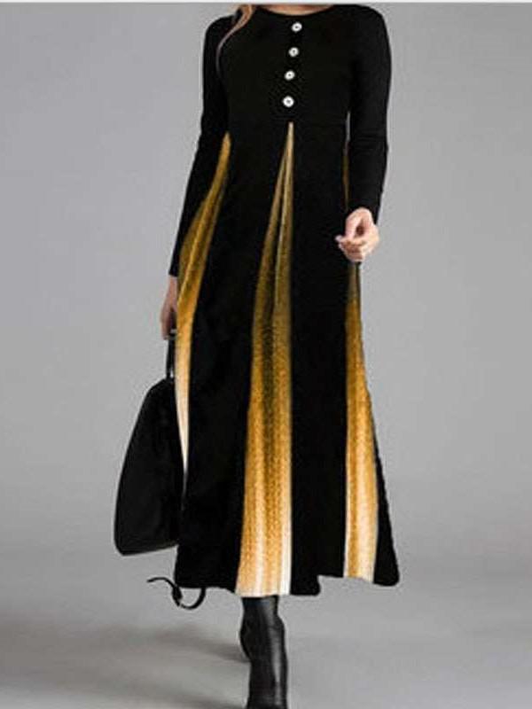 Fashion Gradient Stripe Gored Fastner Round neck Long sleeve Maxi Dresses