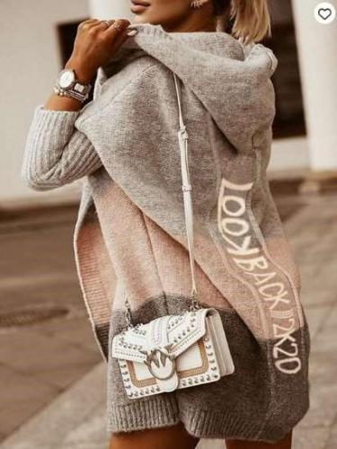 Fashion Casual Gored Word print Knit Hoodie Coats