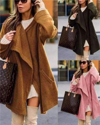 Fashion Casual Pure Suede Round neck Long sleeve Coats