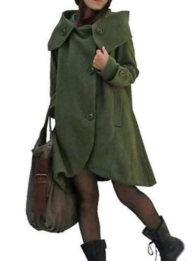 Fashion Casual Pure Lapel Long sleeve Wool Coats