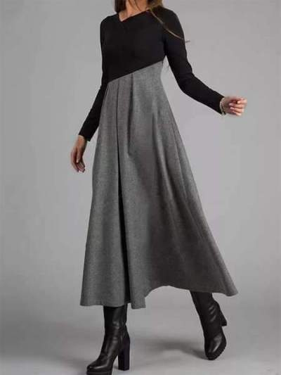 Fashion Elegant Gored V neck Long sleeve Maxi Dresses
