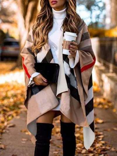 Casual Loose Stripe print Irregular Cappa Coats