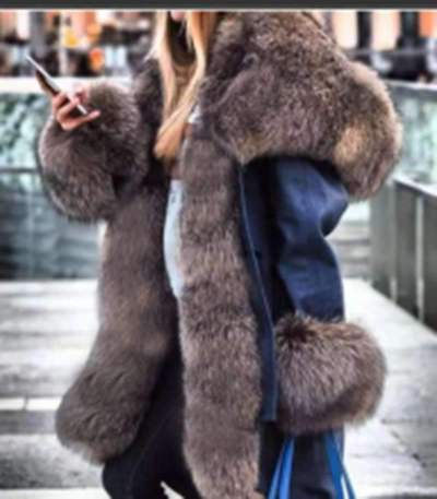 Fashion Casual Fur Hoodie Long sleeve Coats