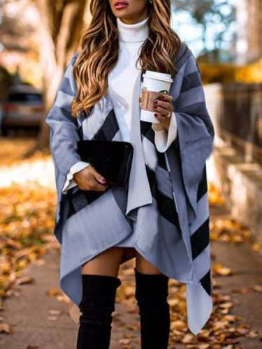 Casual Loose Stripe print Irregular Cappa Coats