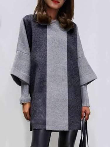 Fashion Stripe gored Round neck Half sleeve Wool Shift Dresses