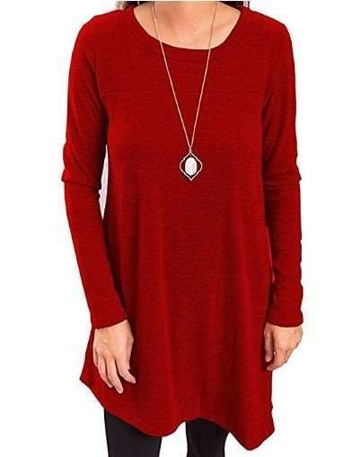 Casual Loose Pure Fastener Round enck Long sleeve Shift Dresses