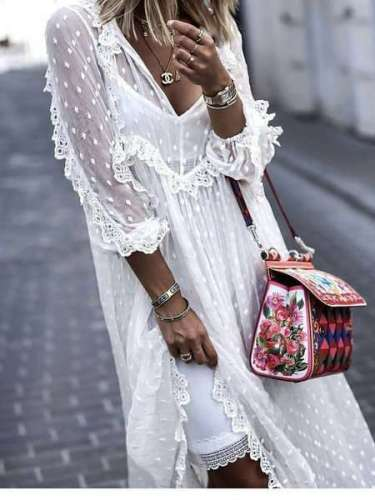 Stylish Casual Lace Gored V neck Long sleeve Maxi Dresses
